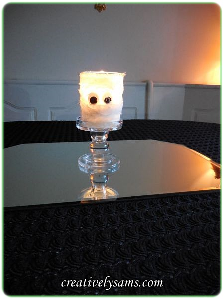 Mummy Candle Holder Lit